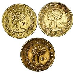 Lot of three Costa Rica (Central American Republic) gold 1/2E, assayers JB: 1846, 1847 and 1848.