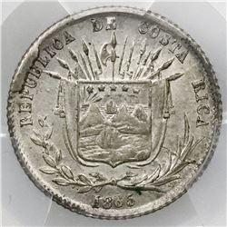 Costa Rica, 10 centavos, 1865GW, PCGS AU55.