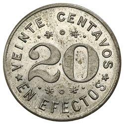 Tapaste, Cuba, copper-nickel 20 centavos token, 1890, Santissima Trinidad.