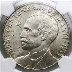 Cuba, peso, 1953, Marti centennial, NGC MS 64.