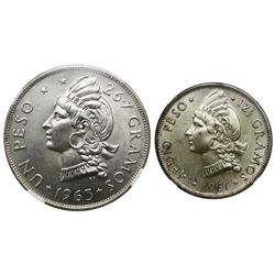 Lot of two Dominican Republic (struck at the Philadelphia Mint) coins: 1 peso, 1963, Restoration of