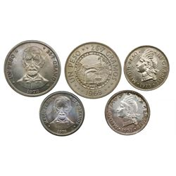 Large lot of 21 Dominican Republic coins: silver peso, 1952; copper-nickel peso, 1969, 1978; silver