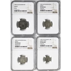 Lot of four Quito, Ecuador, silver minors in NGC slabs: 2 reales, 1835GJ, Fine 12; 1 real, 1833GJ, V