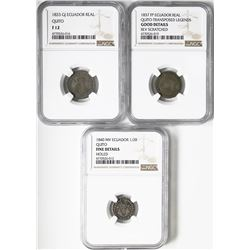Lot of three Quito, Ecuador, silver minors in NGC slabs: 1 real, 1833GJ, Fine 12; 1 real, 1837FP, Go