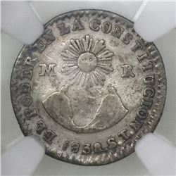 Quito, Ecuador, 1/2 real, 1838ST, OUITO error, NGC VF details / surface hairlines.