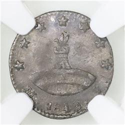 Quito, Ecuador, 1/4 real, 1843MV-A, rare, NGC XF 40.