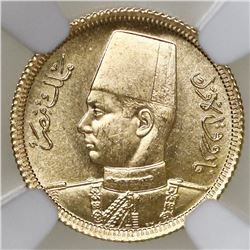 Egypt, gold 20 piastres, AH1357 (1938), King Farouk, NGC MS 64, ex-Jones.