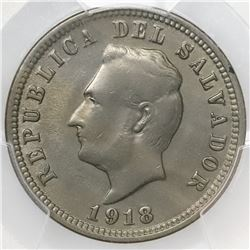 El Salvador, copper-nickel 5 centavos, 1918/7, PCGS AU58, finest and only known example in PCGS cens