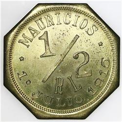 El Salvador, octagonal brass 1/2 real token, Meardi y Del'pech, 1915.