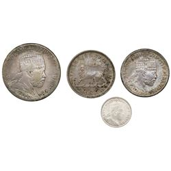 Lot of four Ethiopia coins of Menelik II: 1/2 birr and 1/4 birr, EE 1889, lion's right foreleg raise