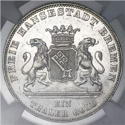 Bremen (German States), taler, 1863, liberation of Germany 50th anniversary, NGC AU 58.