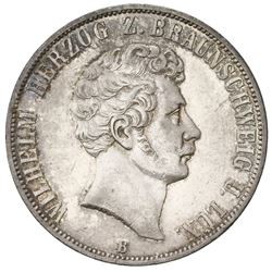Brunswick (German States), 2 taler, 1856-B, Wilhelm I, 25th anniversary of reign.
