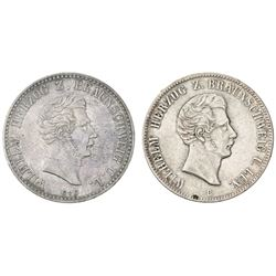 Lot of two Brunswick (German States), talers of Wilhelm I: 1841 and 1854.