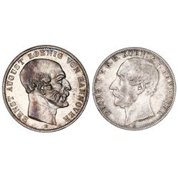 Lot of two Hannover (German States) talers: Ernst August, 1851-B; George V, 1866-B.