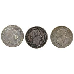 Lot of three Prussia (German States), talers of Friedrich Wilhelm III: 1824-A, 1830-A, 1836-A (minin