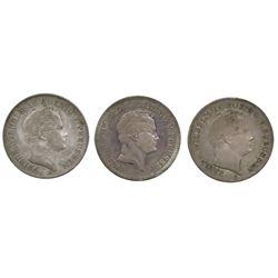 Lot of three Prussia (German States), talers of Friedrich Wilhelm IV: 1841-A (mining); 1848-A (minin