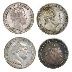 Lot of four Prussia (German States), talers of Friedrich Wilhelm IV: 1851-A (mining); 1853-A (mining