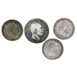 Lot of four Prussia (German States) coins of Wilhelm I: taler, 1865-A, 1866-A, and 1869-A; 5 mark, 1