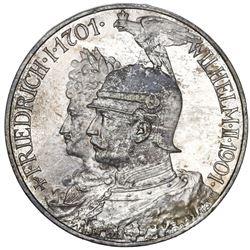 Prussia (German States), 5 mark, 1901-A, Wilhelm II, 200th anniversary of the Kingdom of Prussia.