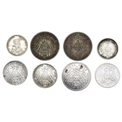 Lot of eight Prussia (German States) coins of Wilhelm II: 5 mark, 1904-A, 1907-A, 1913-A; 3 mark, 19