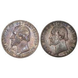 Lot of two Saxe-Coburg-Gotha (German States), talers: 1848-F, Ernst II; 1862-B, Ernst II.