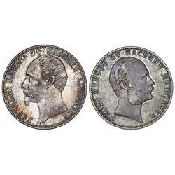 Lot of two Saxe-Meiningen (German States), talers: 1866, Bernhard; 1867, George II.