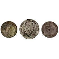 Lot of three German States talers: Nassau, 1860, Adolph; Reuss-Schleiz, 1862-A, Heinrich LXVII; Saxo