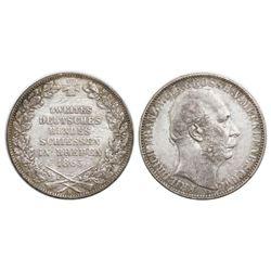 Lot of two German States coins: Bremen (German States), taler, 1865-B, Bremen shooting festival; Mec