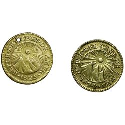 Lot of two Guatemala (Central American Republic) gold 1/2E, assayer M: 1824 and 1825.