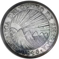Guatemala (Central American Republic), 8 reales, 1846/2AE/MA, CREZCA/CRESCA variety, PCGS AU50.