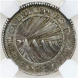 Guatemala (Central American Republic), 1 real, 1824M, NGC AU 55.
