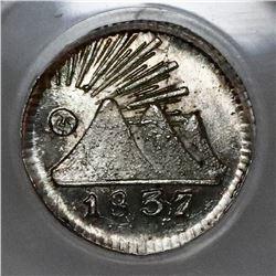 Guatemala (Central American Republic), 1/4 real, 1837, PCGS MS65.