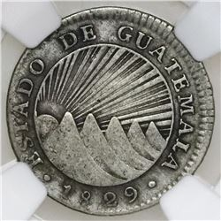 Guatemala (State), provisional 1 real, 1829M, very rare, NGC VF 25.
