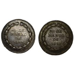 Lot of two Guatemala 1R-sized silver proclamation medals of 1847, both coin axis.