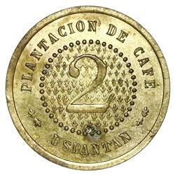 San Miguel Uspantan (El Quiche Dept), Guatemala, brass 2 reales coffee token, Finca San Jose del Soc