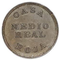 Guatemala, copper 1/2 real token, Casa Roja / Francisco Aparicio, no date (ca. 1900).