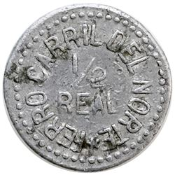 Guatemala, aluminum 1/2 real token, Ferrocarril del Norte, no date (ca. 1900).