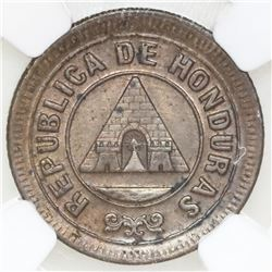 Honduras, copper 1 centavo, 1885, denomination 1, NGC UNC details / cleaned, ex-O'Brien.