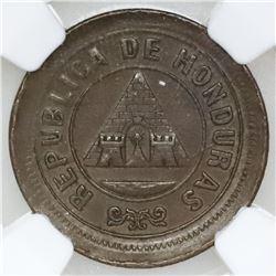Honduras, copper 1 centavo, 1890, denomination UN/10, NGC AU 58 BN, ex-O'Brien.