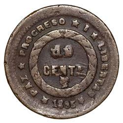 Honduras, copper 1 centavo, 1895, denomination UN/10, ex-O'Brien.