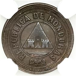 Honduras, copper 1 centavo, 1901/897, NGC AU 58 BN, finest and only example in NGC census, ex-O'Brie