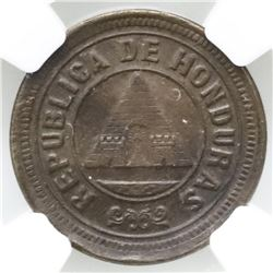 Honduras, copper 1 centavo, 1902, small 0, NGC MS 62 BN, ex-O'Brien.