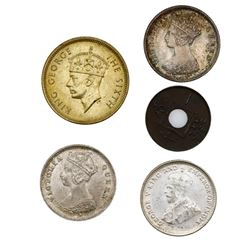 Lot of five Hong Kong coins: silver 10 cents, 1874-H, 1897-H; bronze 1 mil, 1866; copper-nickel 10 c