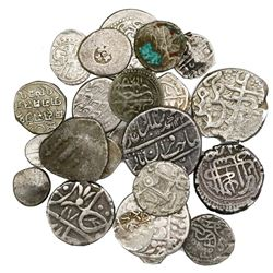 Large lot of 26 miscellaneous Indian silver coins, various regions and time periods.