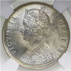 Bombay, British (India), rupee, Victoria, 1886-B, NGC MS 63.