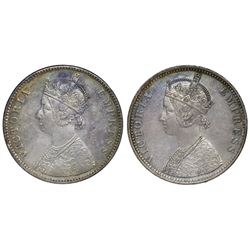 Lot of two Bombay, India (British), rupees of Victoria: 1883, with bead; 1887, inverted B at top.