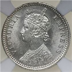Calcutta, India (British), 1/4 rupee, Victoria, 1890-C, NGC MS 62.