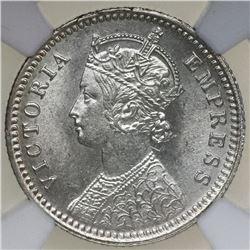 Calcutta, India (British), 1/4 rupee, Victoria, 1890-C, NGC MS 62.