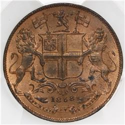 India (British East India Company), copper 1/4 anna, Victoria, 1858(W), PCGS MS64RD.