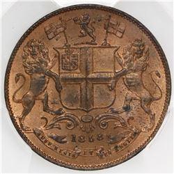 India (British East India Company), copper 1/4 anna, Victoria, 1858(W), PCGS MS64RD.